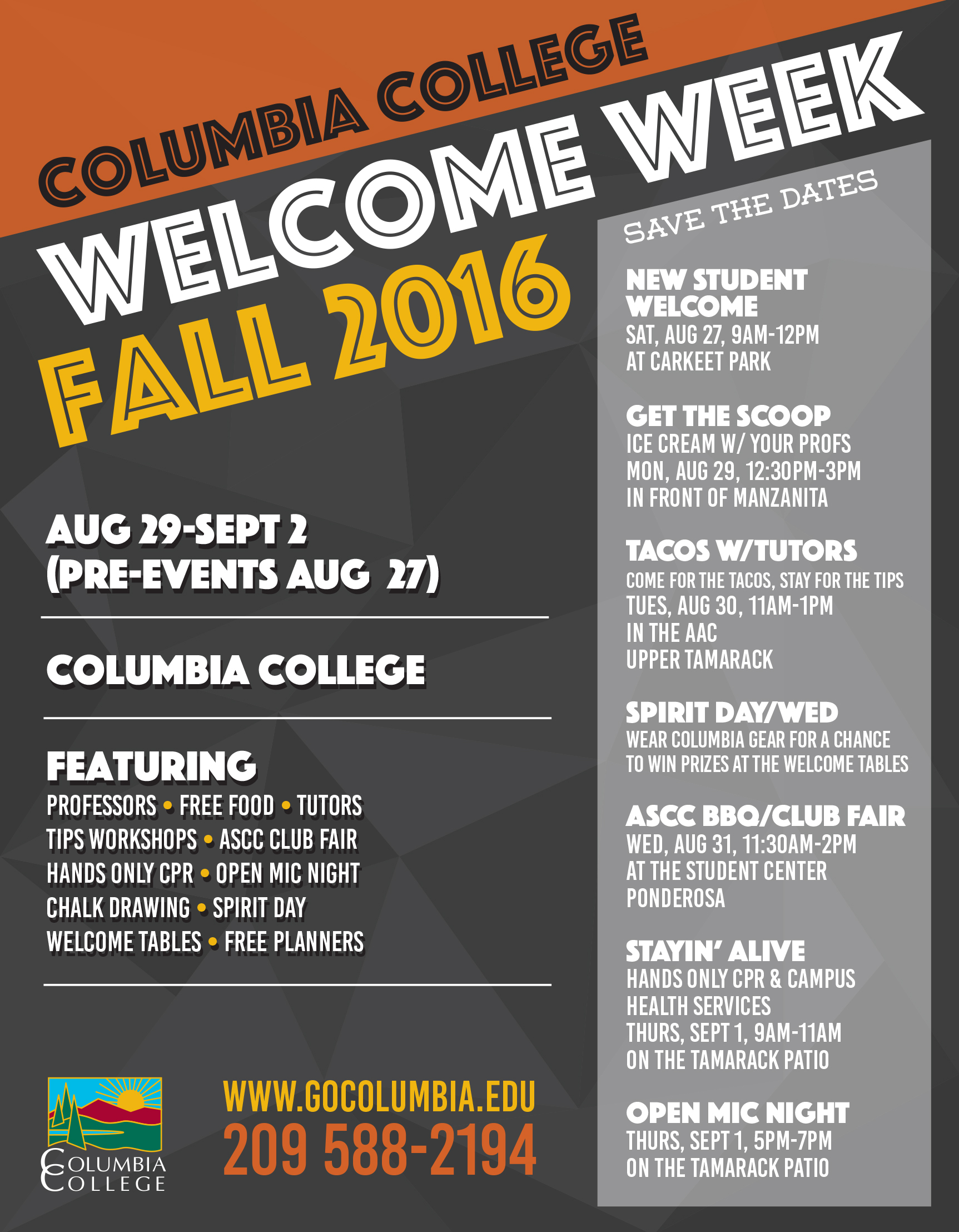 Upcoming Events | Welcome Week Fall 2016! | Columbia ...
