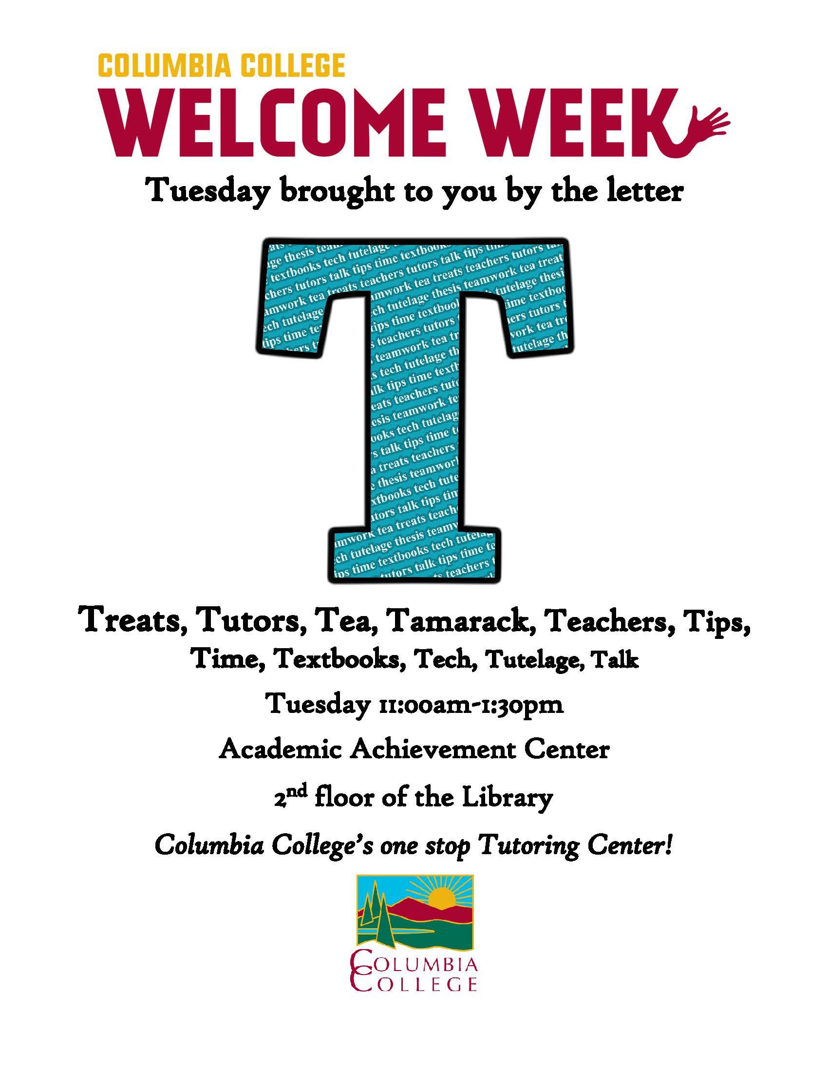 Tuesday Welcome Week update