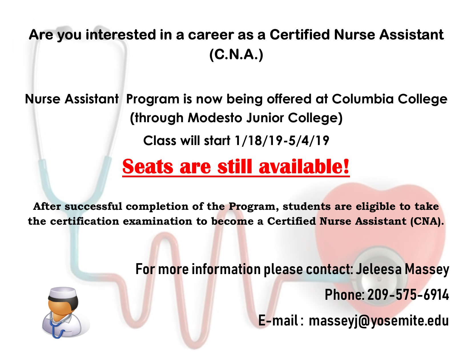 CNA Columbia College Flier