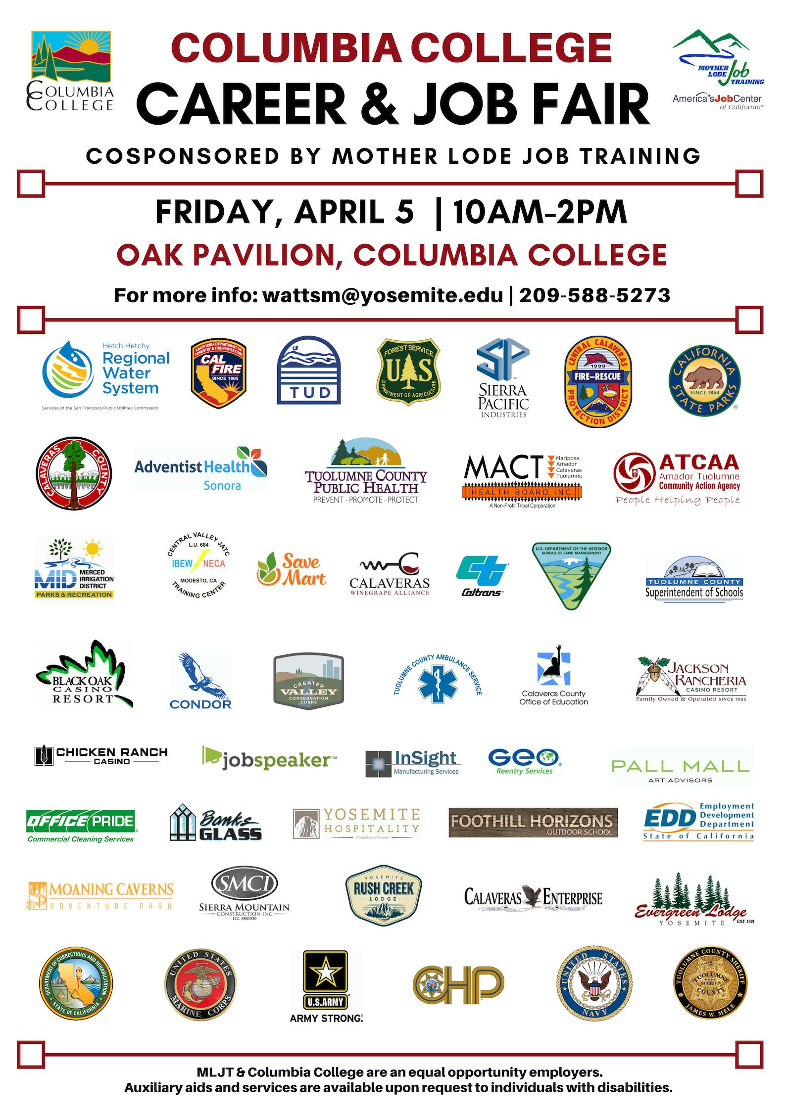 2019 Job Fair Flyer with logos