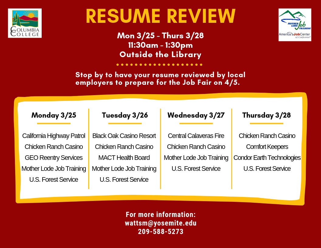 Resume Review Flyer With Schedule