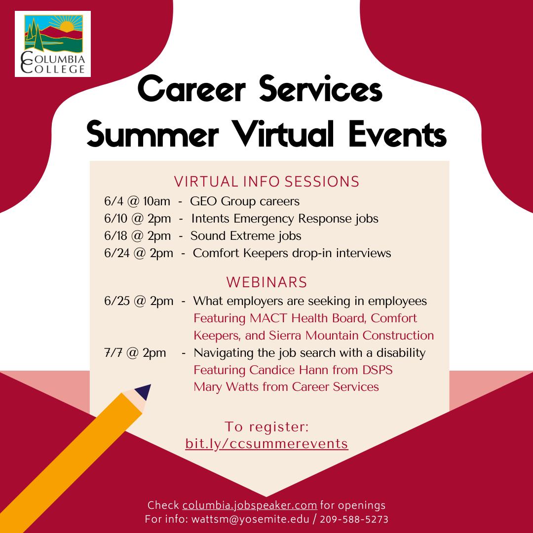 Virtual Summer Events Flyer per 5.26.2020
